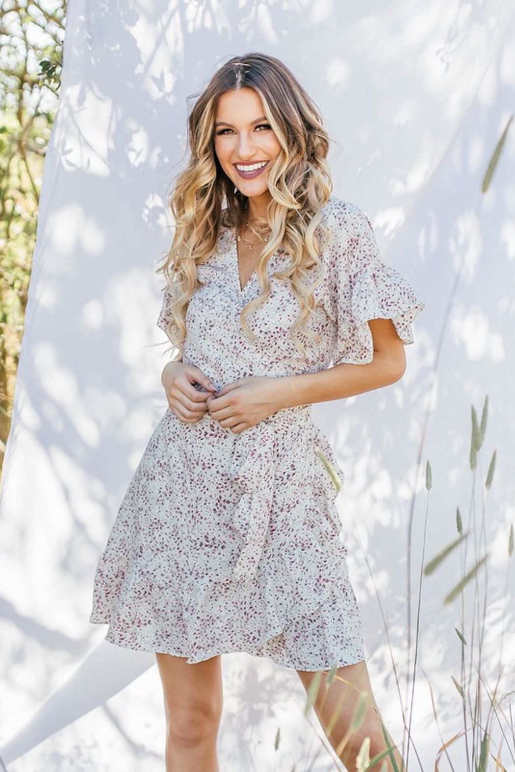 Love Stitch Floral Wrap Dress - Main Image