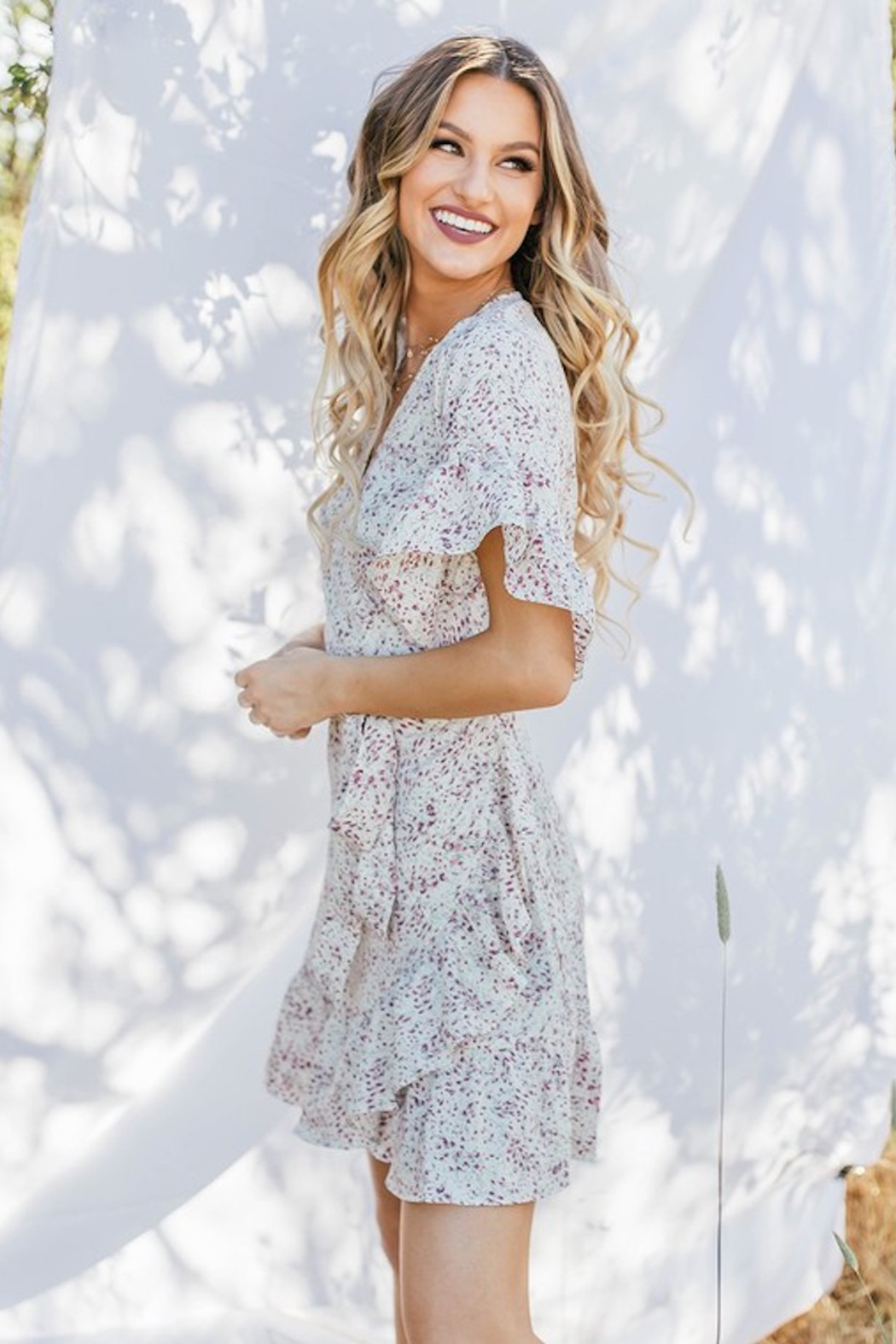 Love Stitch Floral Wrap Dress - Front Full Image