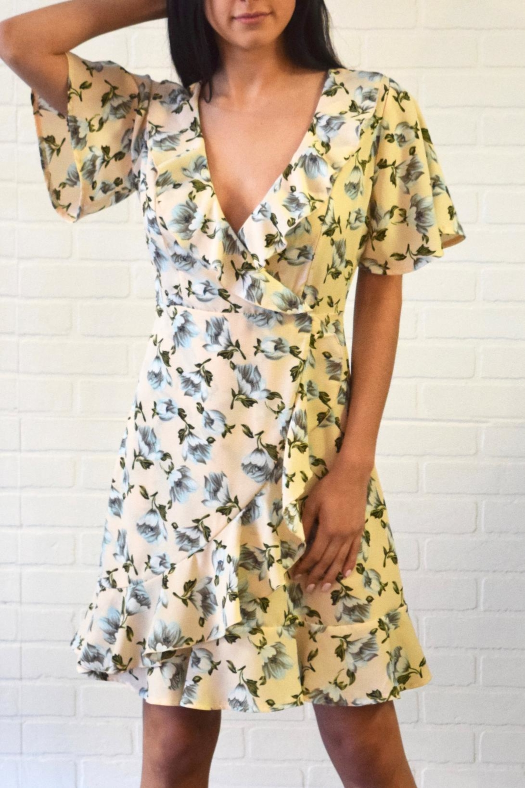 DIVA Floral Wrap Dress - Front Cropped Image