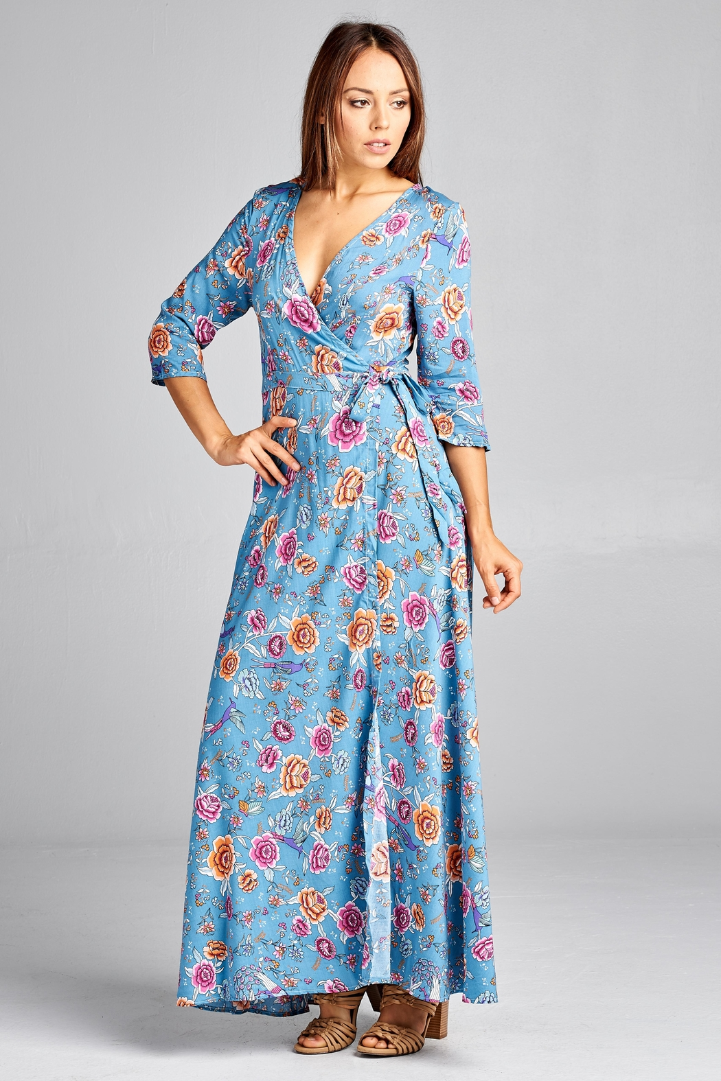 Racine Floral-Wrap Maxi Dress - Front Full Image