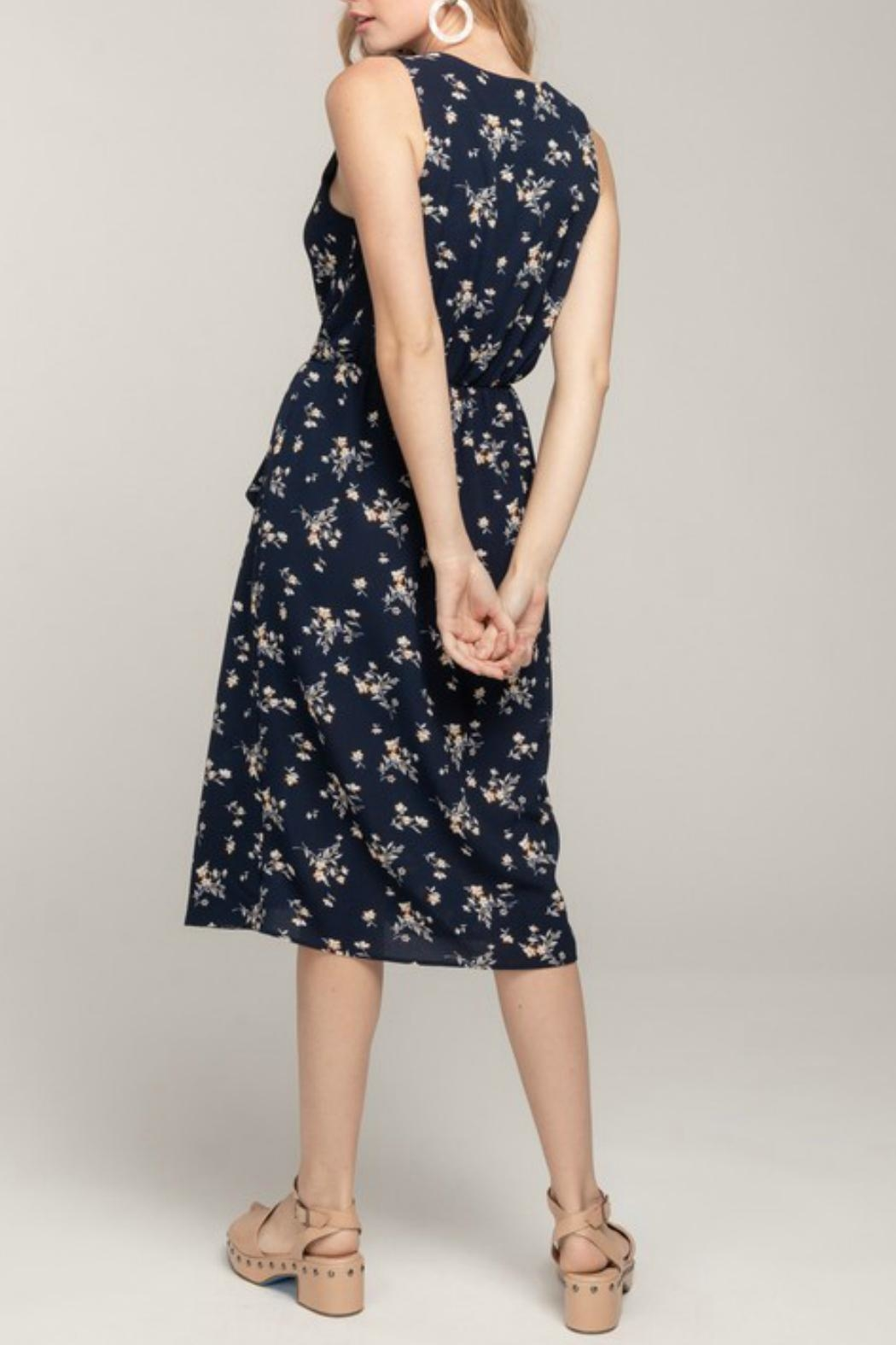 Everly Floral Wrap Midi-Dress - Front Full Image