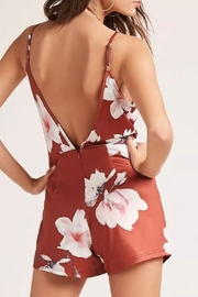 Pink Stitch Floral Wrap Romper - Front full body