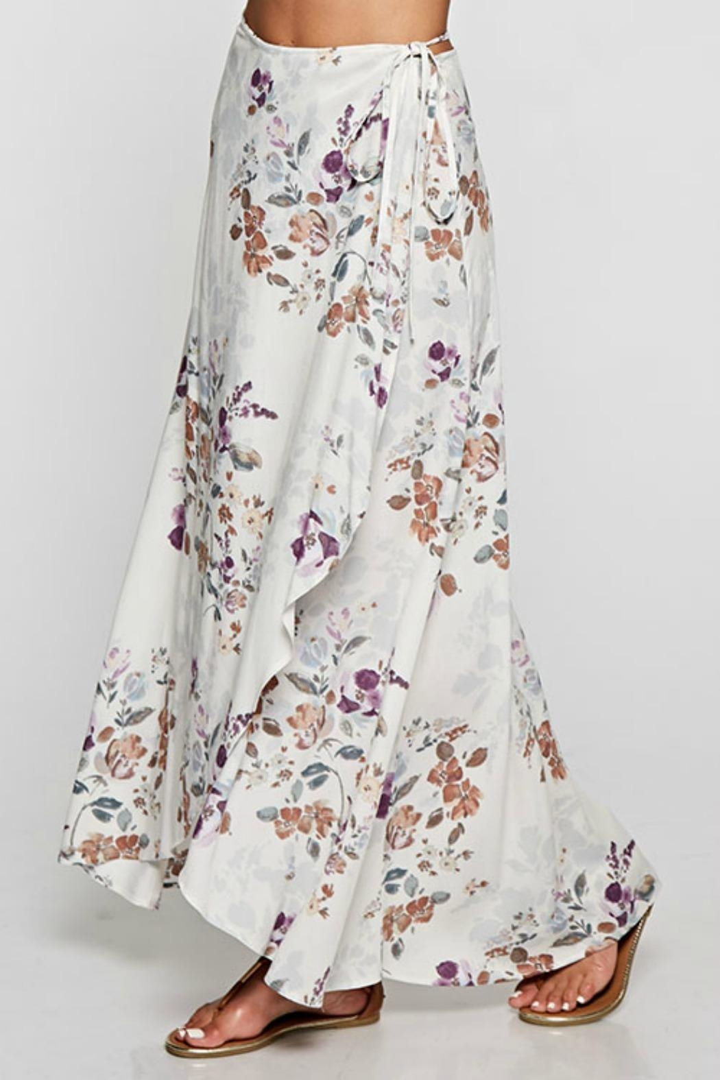 Love Stitch Floral Wrap Skirt - Side Cropped Image