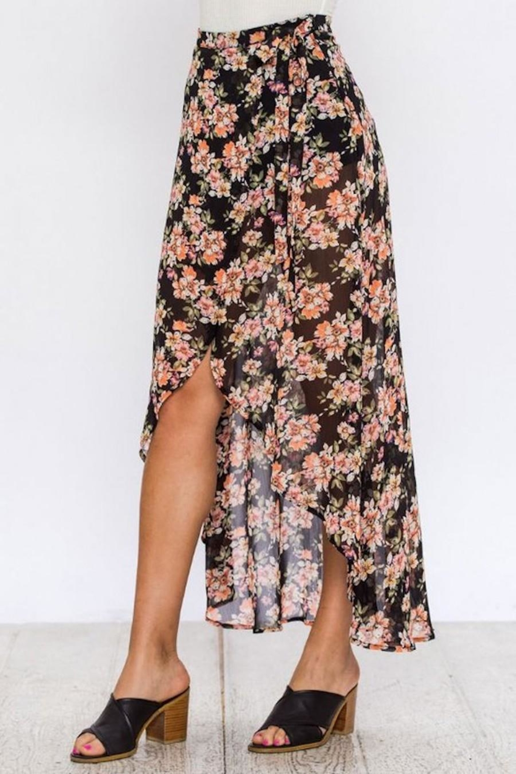 Flying Tomato Floral Wrap Skirt - Front Full Image