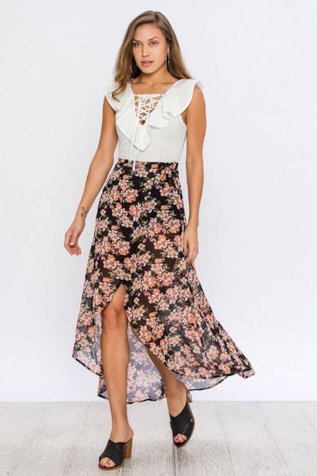 Flying Tomato Floral Wrap Skirt - Back Cropped Image