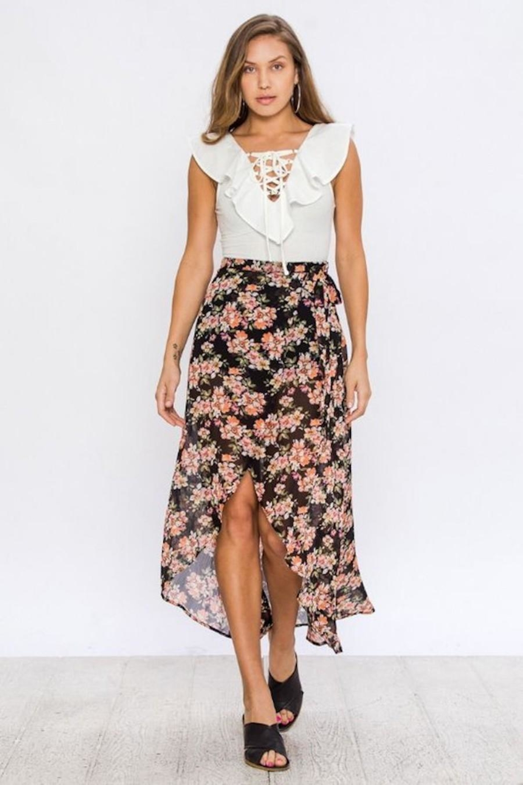 Flying Tomato Floral Wrap Skirt - Side Cropped Image