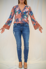 Starrs On Mercer Floral Wrap Top - Product Mini Image