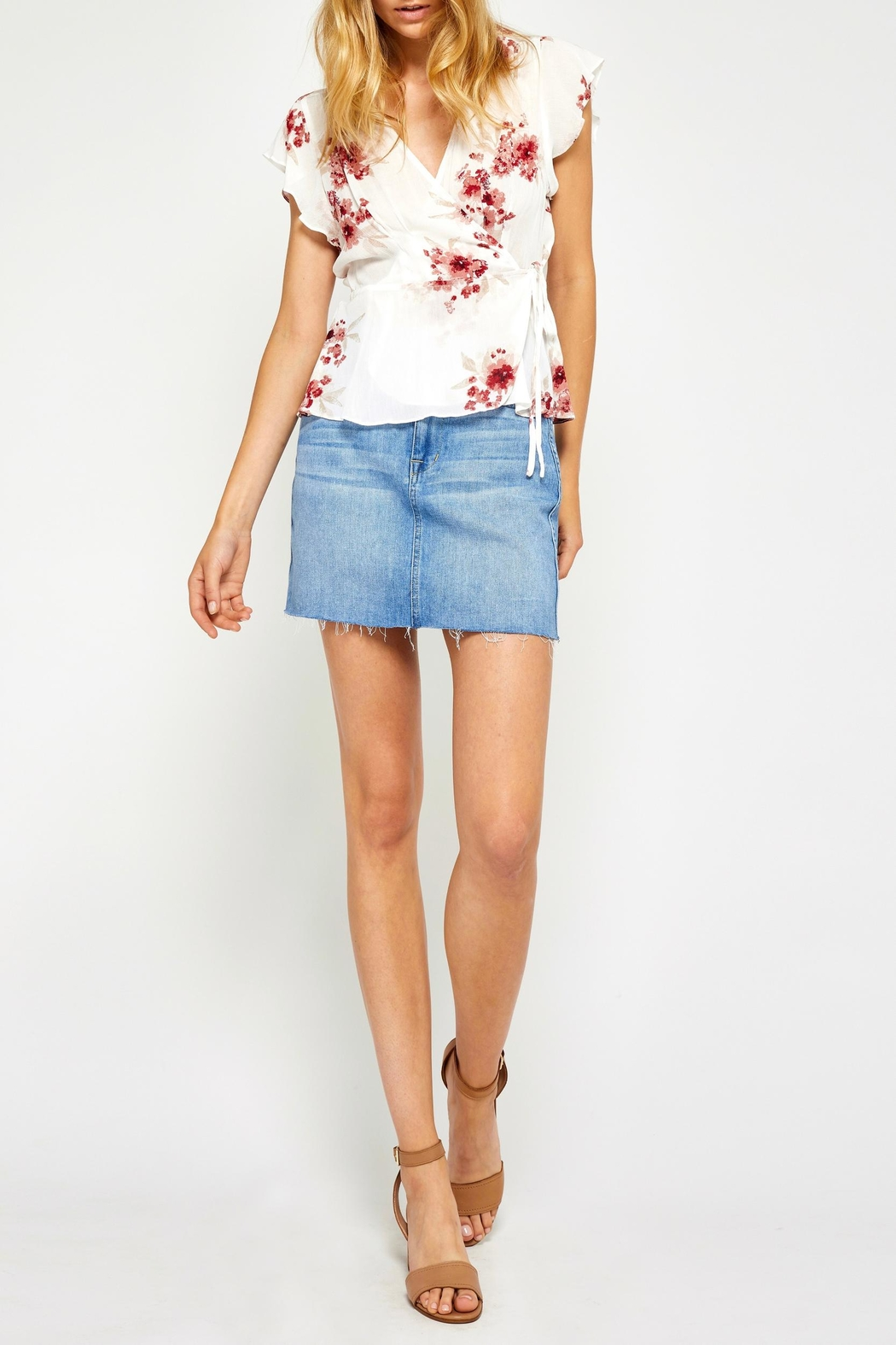 Gentle Fawn Floral Wrap Top - Front Full Image