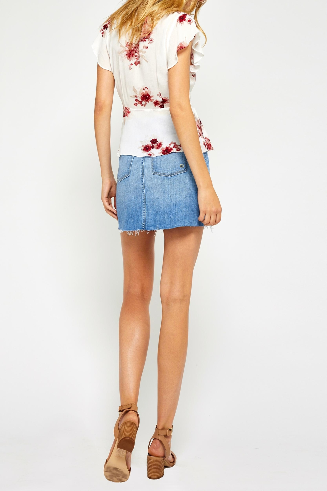 Gentle Fawn Floral Wrap Top - Back Cropped Image