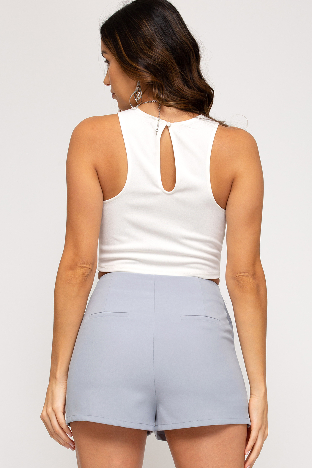 She and Sky Florence Flat Front Shorts - Side Cropped Image