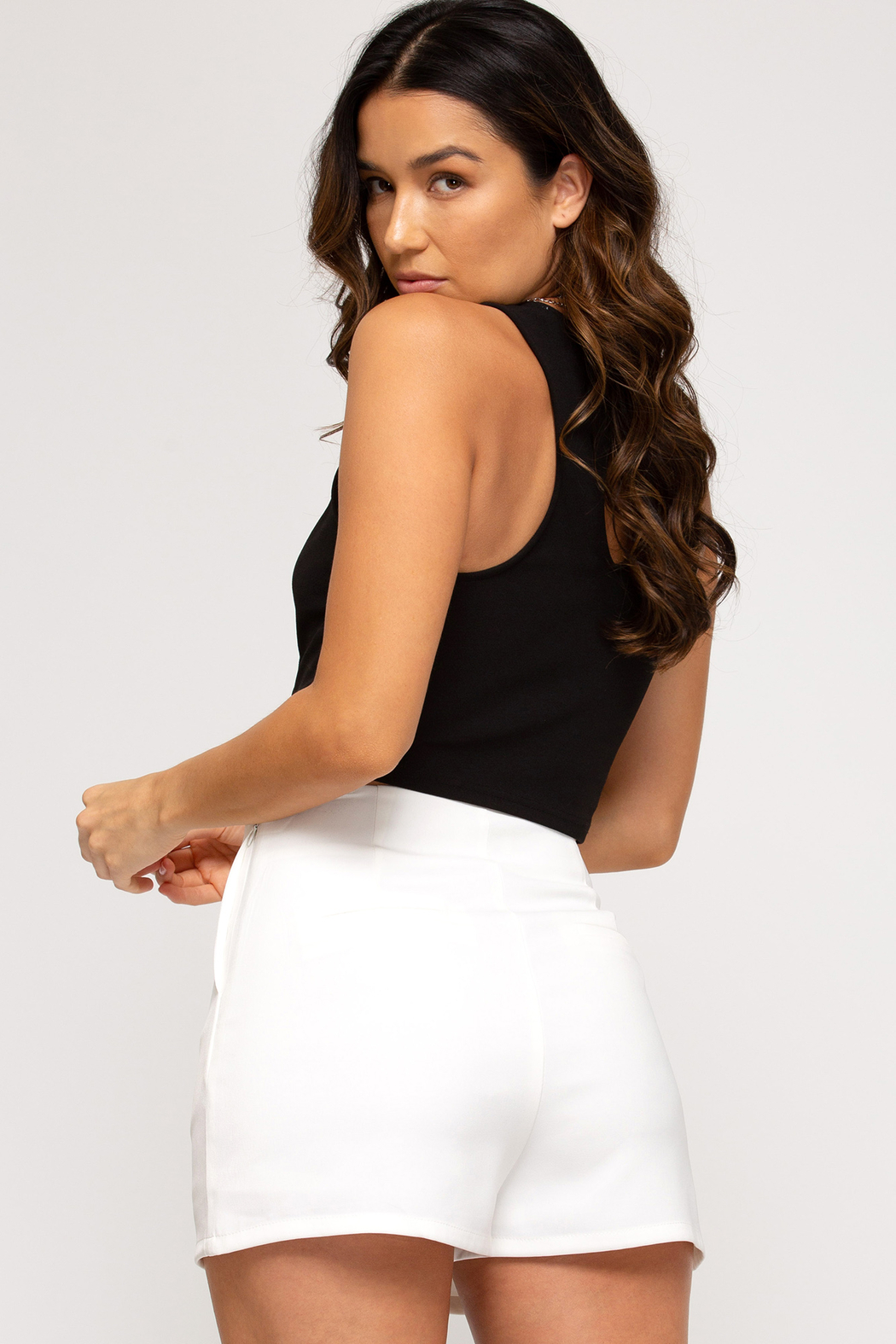 She and Sky Florence Flat Front Shorts - Front Full Image