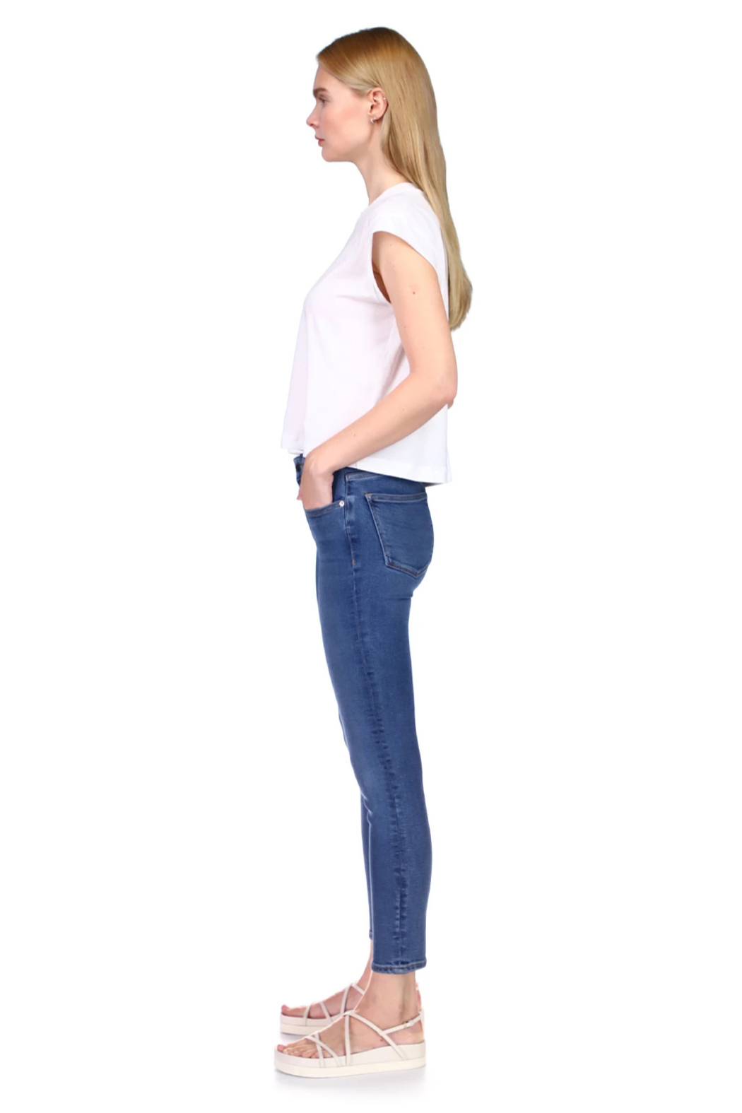 DL1961 Florence Mid Rise Blue Bell - Front Full Image
