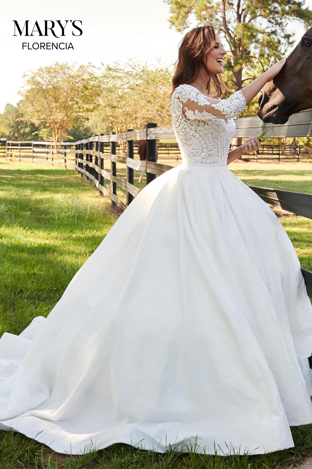 Mary's Bridal Florencia Bridal Gown in Ivory Color - Back Cropped Image