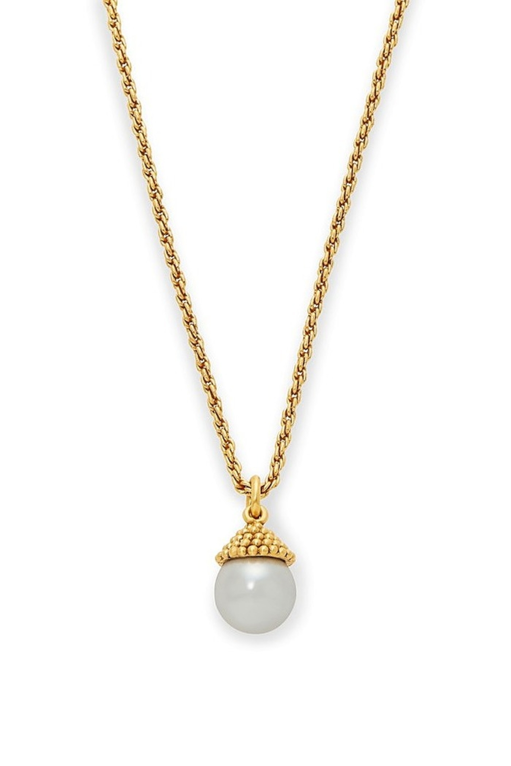 The Birds Nest Florentine Charm Necklace Gold Pearl - Main Image