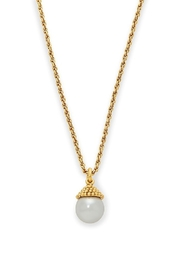 The Birds Nest Florentine Charm Necklace Gold Pearl - Front cropped