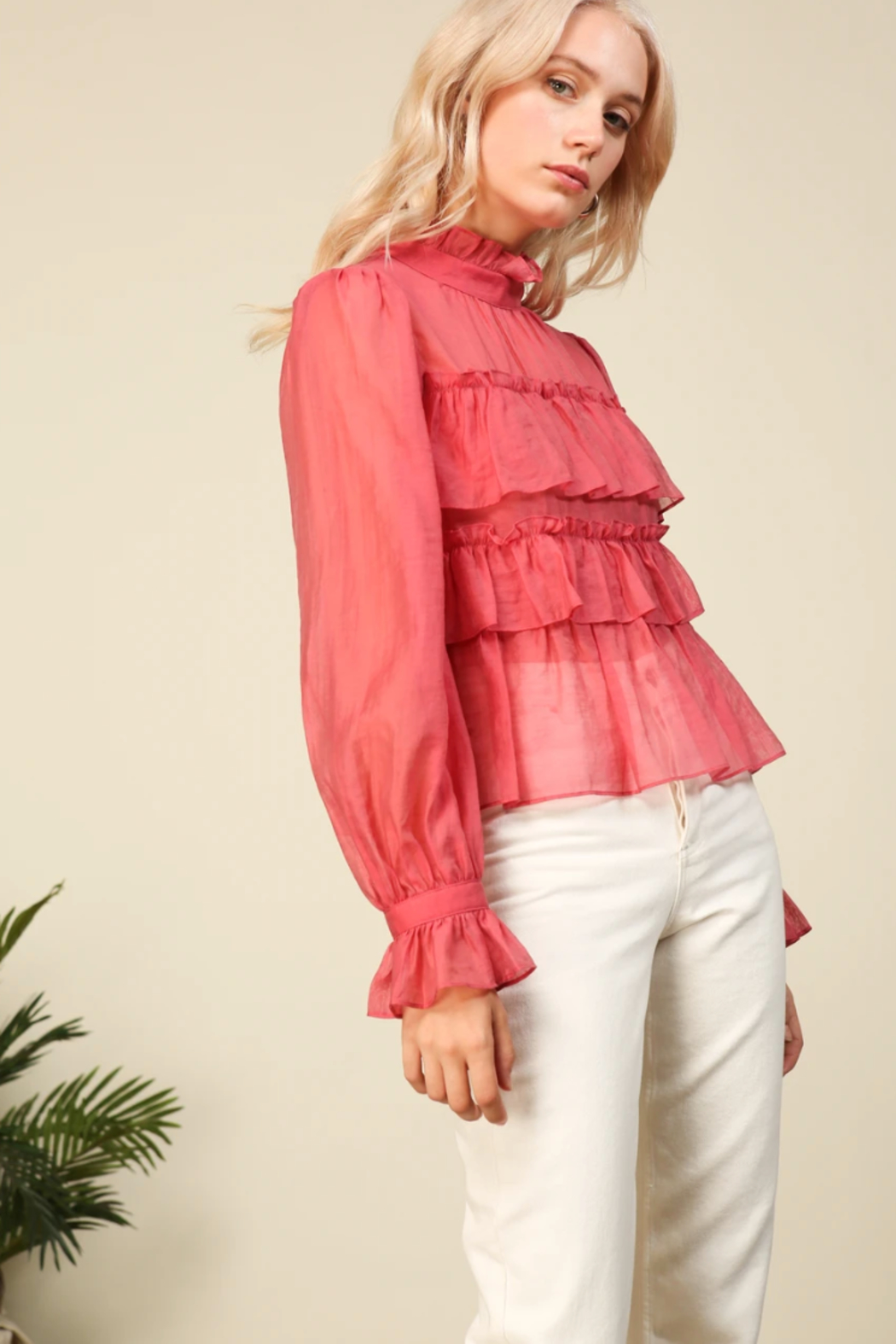 Line & Dot Floresta Ruffle Tier Top - Side Cropped Image