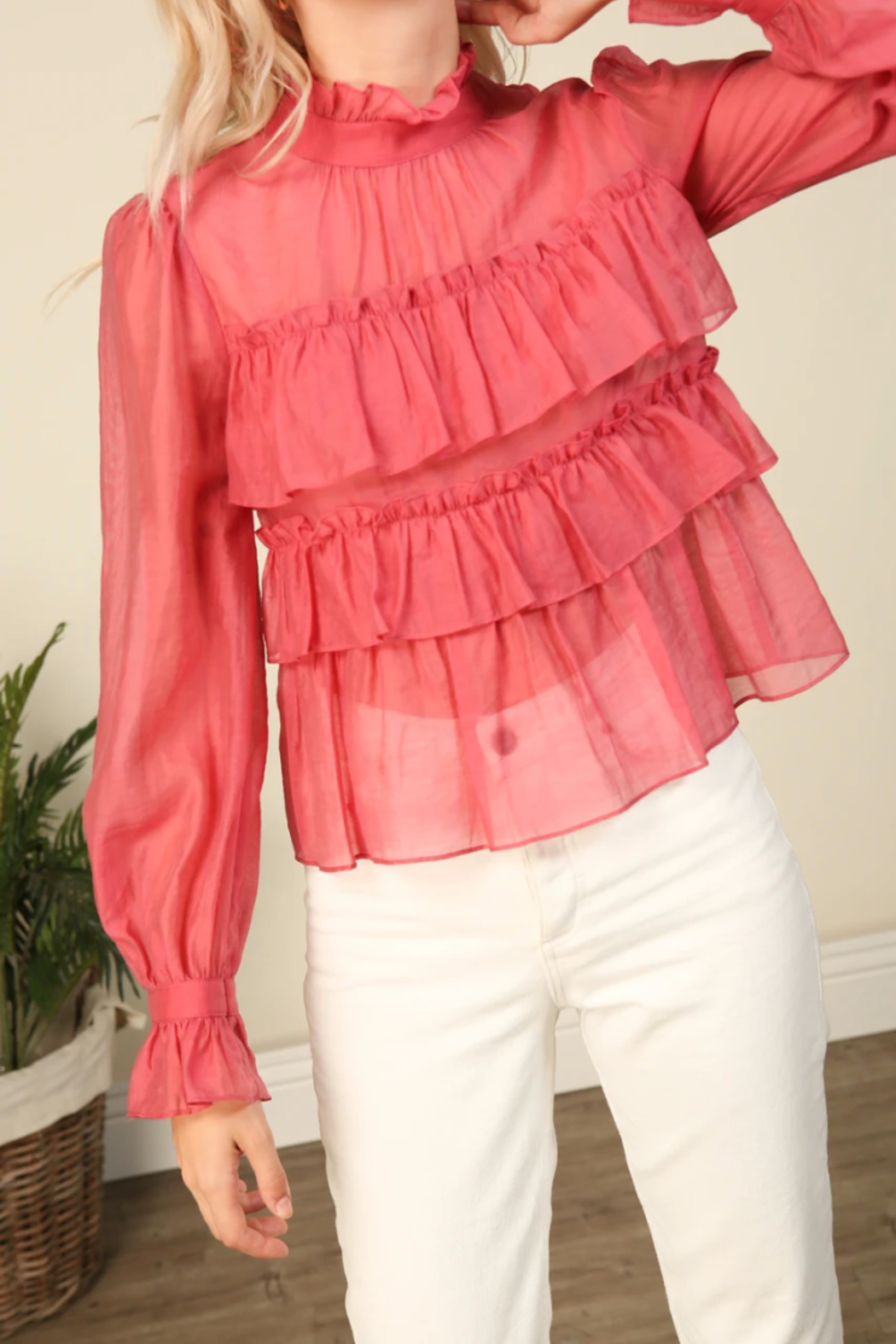 Line & Dot Floresta Ruffle Tier Top - Back Cropped Image