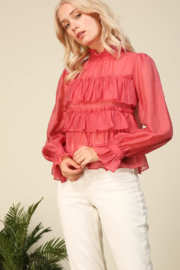 Line & Dot Floresta Ruffle Tier Top - Front cropped