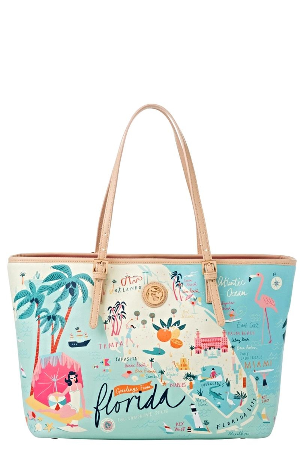 Delray Beach Florida Map.Spartina Florida Map Tote From Palm Beach By Picnic Fashion Shoptiques