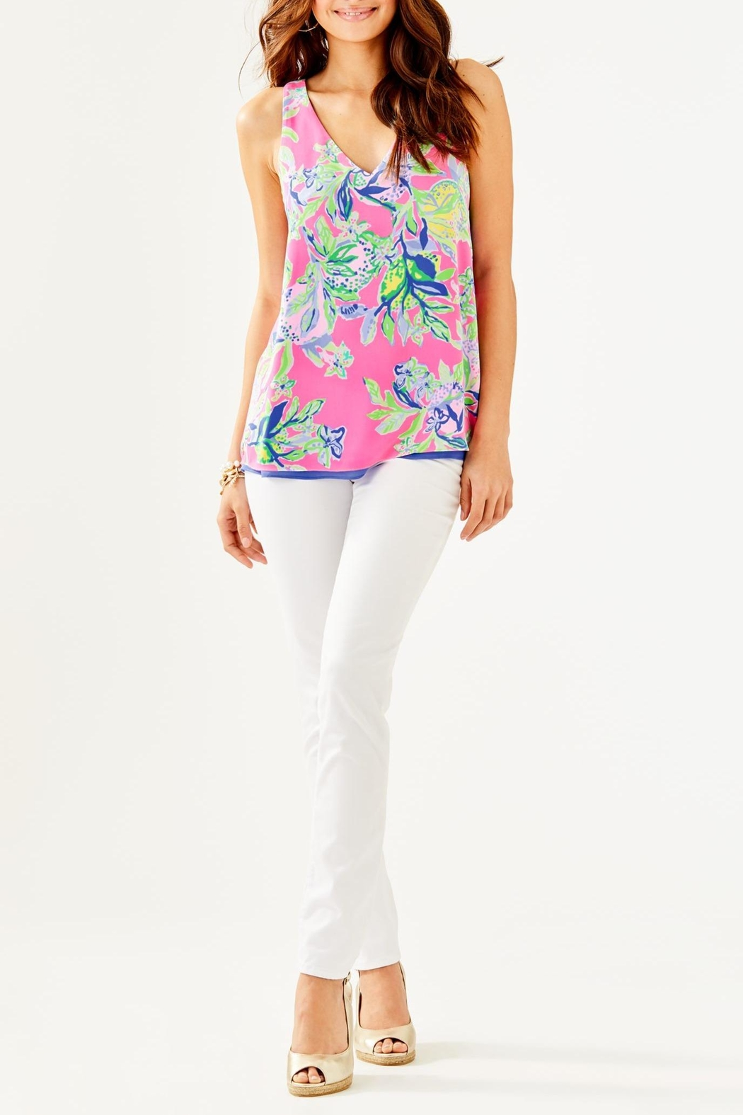 Lilly Pulitzer Florin V-Neck Top - Back Cropped Image