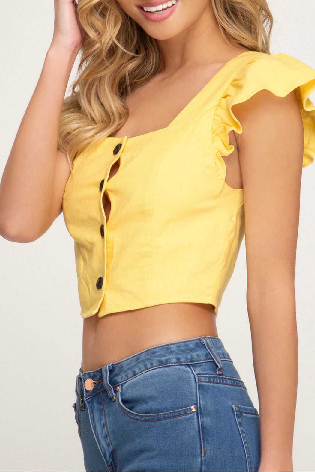 She + Sky Flounce sleeve crop top - Front Full Image