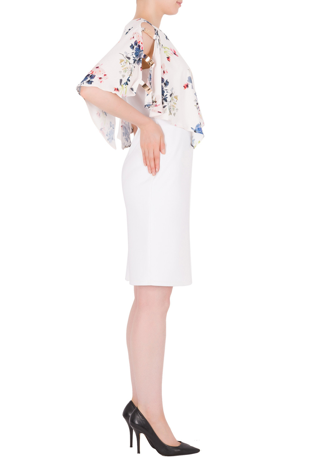 Joseph Ribkoff  Flower Cape Dress - Front Full Image