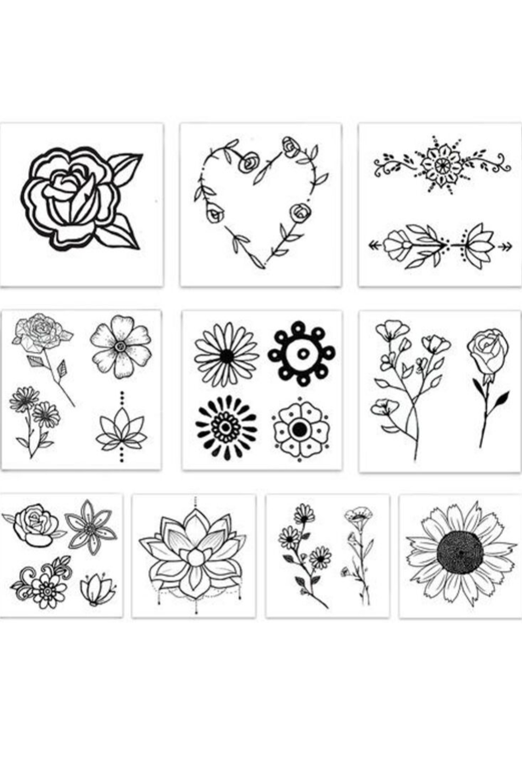 Inked by Dani Flower Child Temporary Tattoos - Back Cropped Image