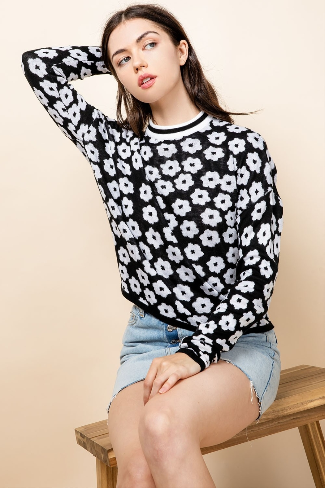 Thml Flower Crewneck Sweater - Front Cropped Image