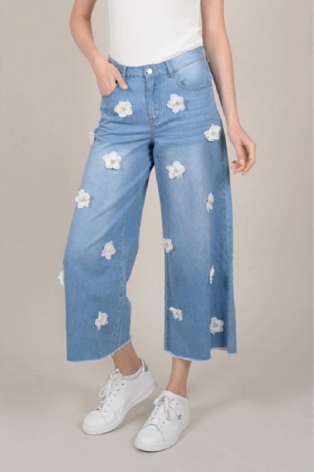 Molly Bracken Flower Cropped Jeans - Front Cropped Image