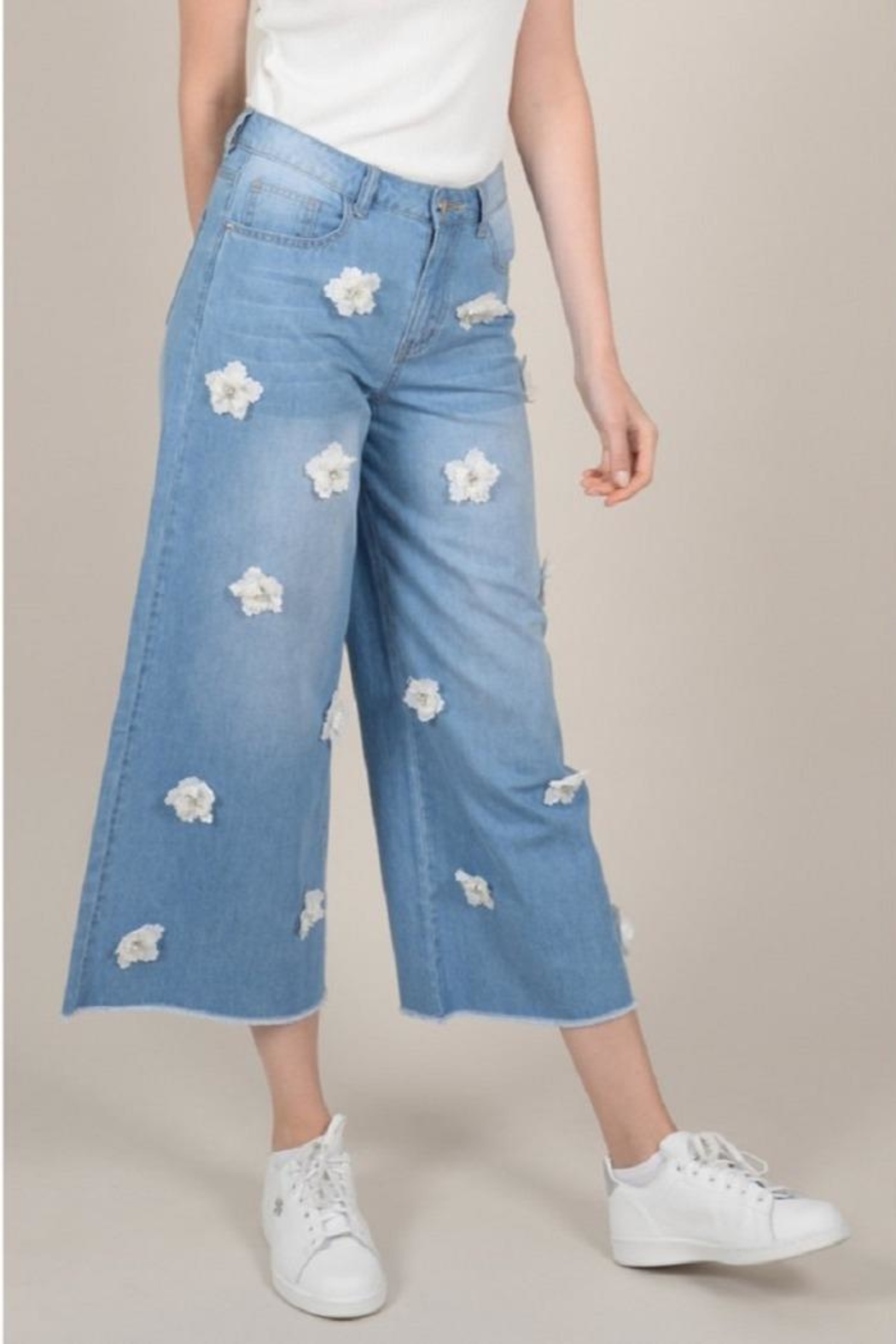 Molly Bracken Flower Cropped Jeans - Main Image