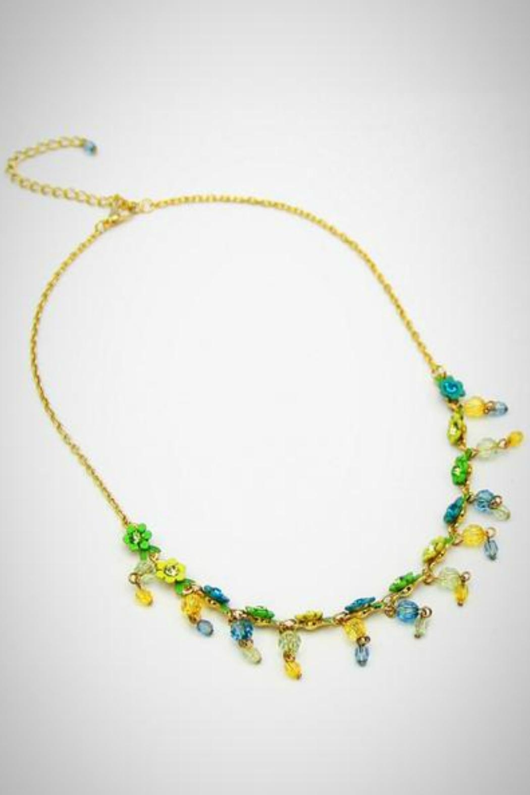 Embellish Flower Crystal Necklace - Main Image