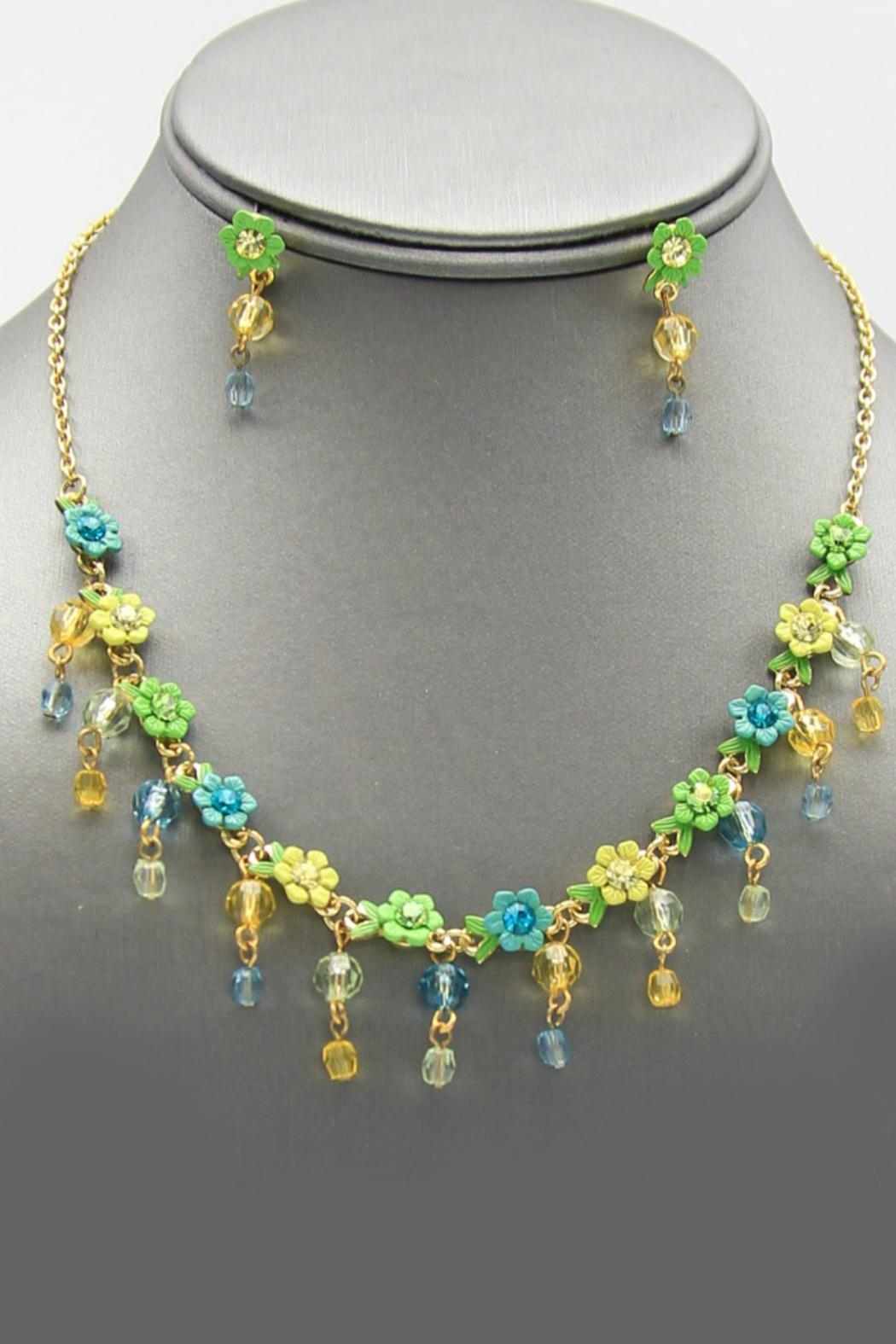 Embellish Flower Crystal Necklace - Front Full Image