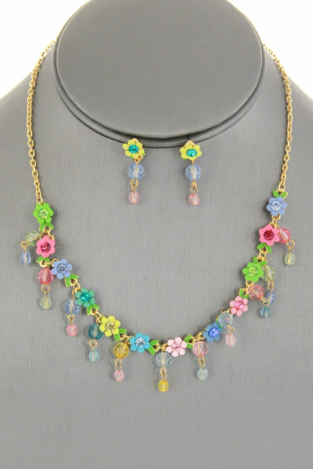 Embellish Flower Crystal Necklace - Front Cropped Image