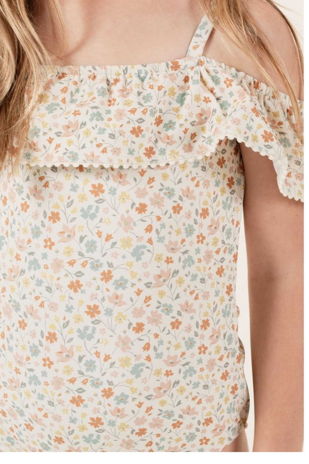 Rylee & Cru Flower Field Off The Shoulder One Peice - Side Cropped Image