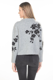 Rain + Rose  Flower On Check Mock Neck Sweater - Side cropped