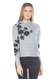Rain + Rose  Flower On Check Mock Neck Sweater - Front cropped