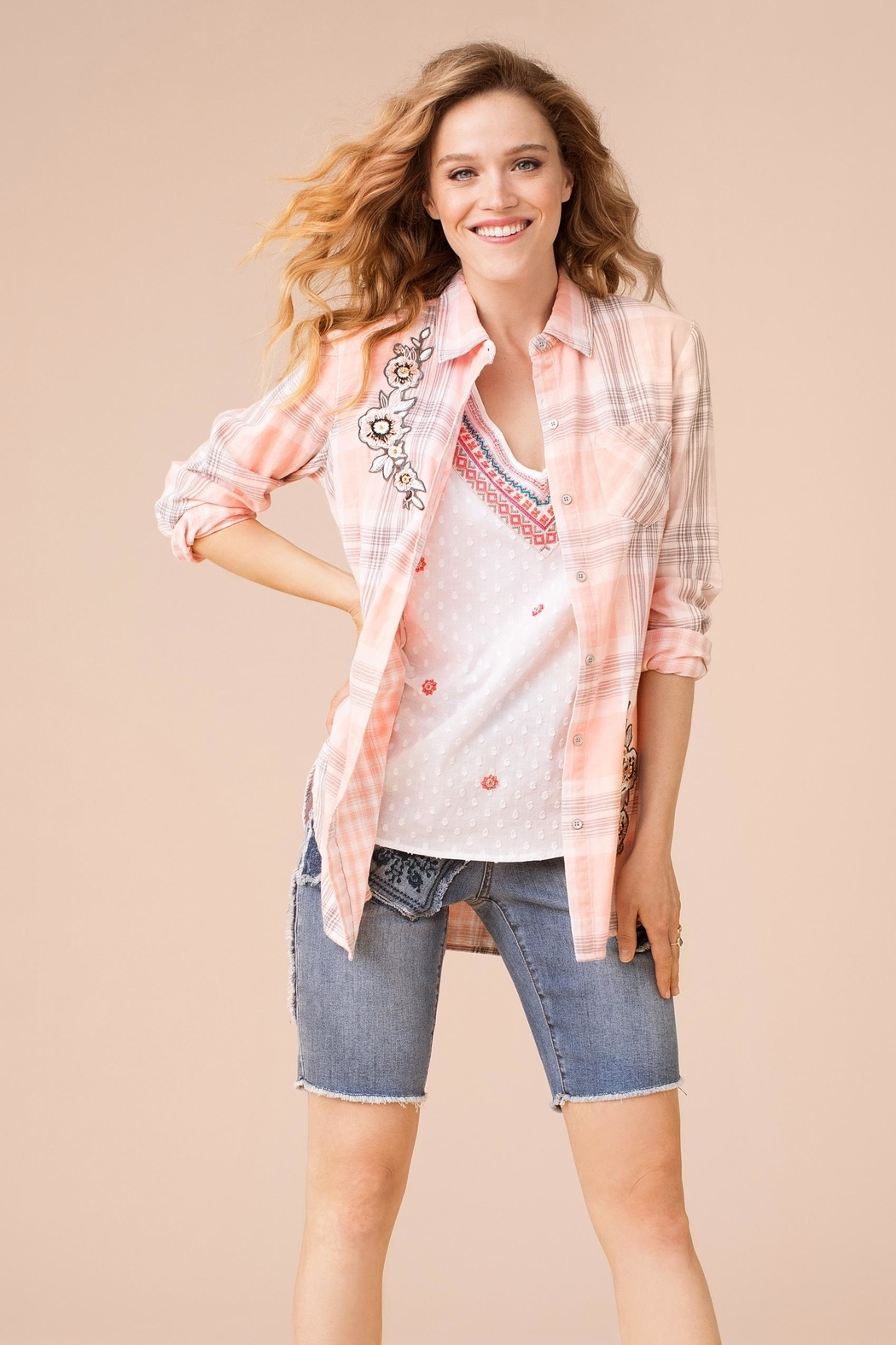 Tribal Flower Plaid Top - Front Cropped Image