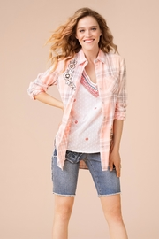 Tribal Flower Plaid Top - Front cropped