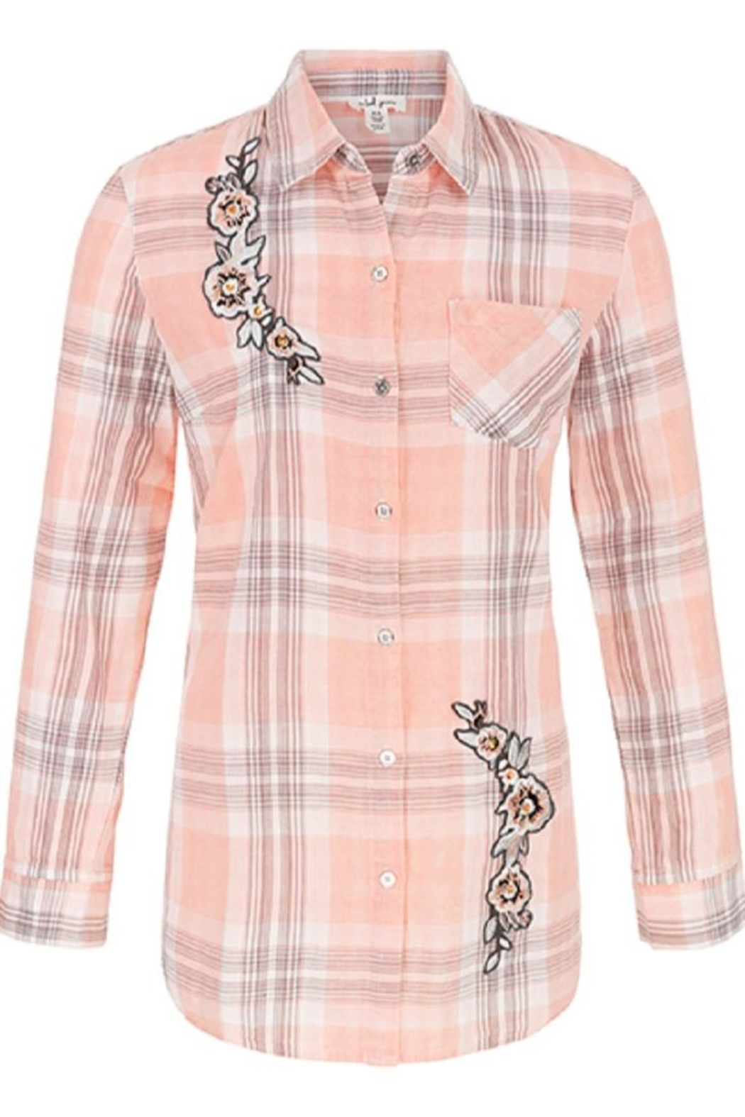 Tribal Flower Plaid Top - Front Full Image