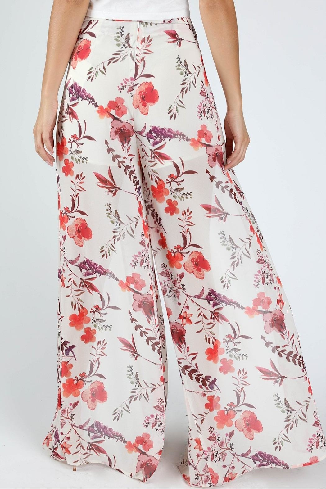 Honey Punch Flower Power Pants - Back Cropped Image