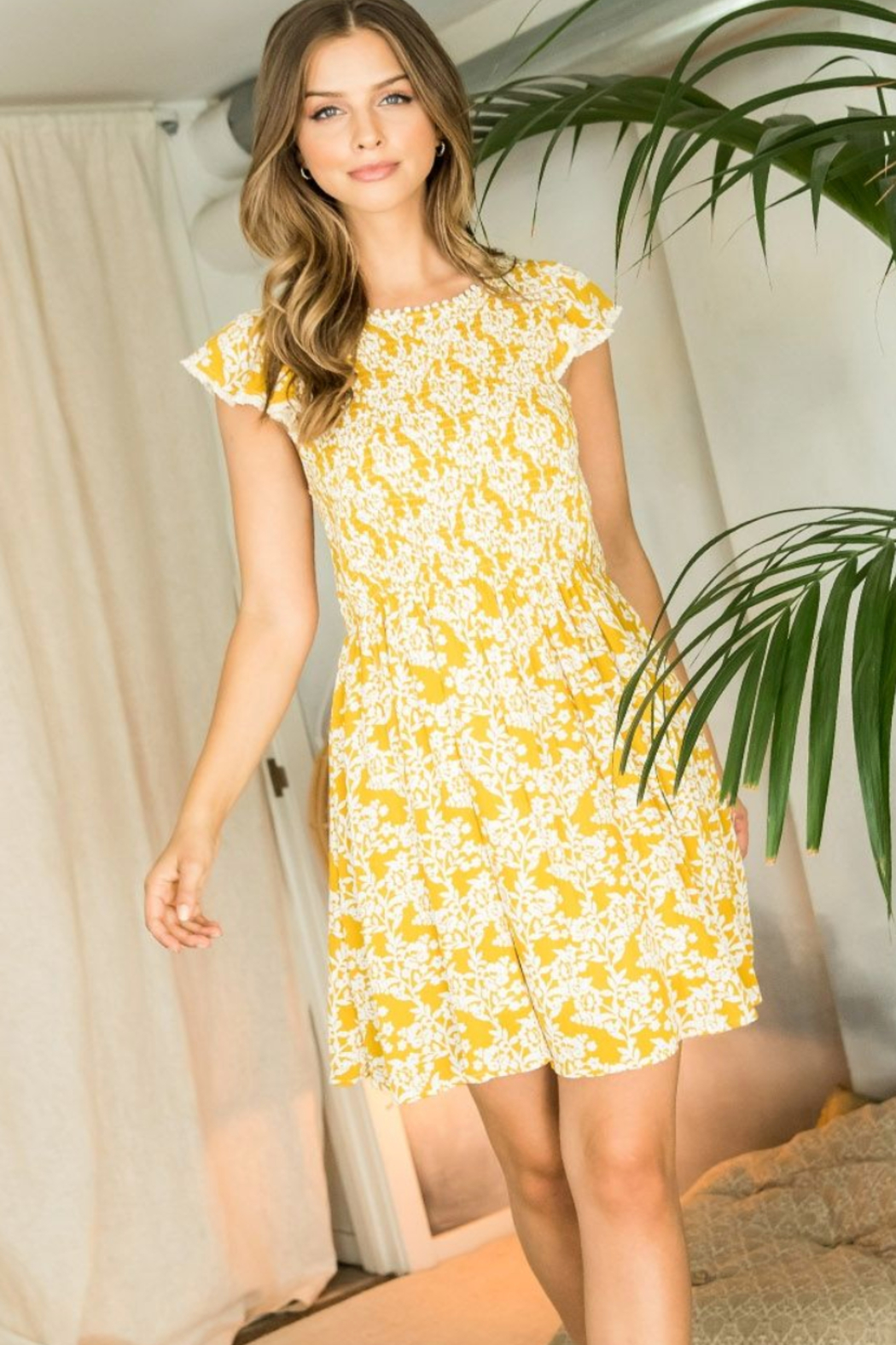 Thml Flower Print Smocked Dress - Front Cropped Image