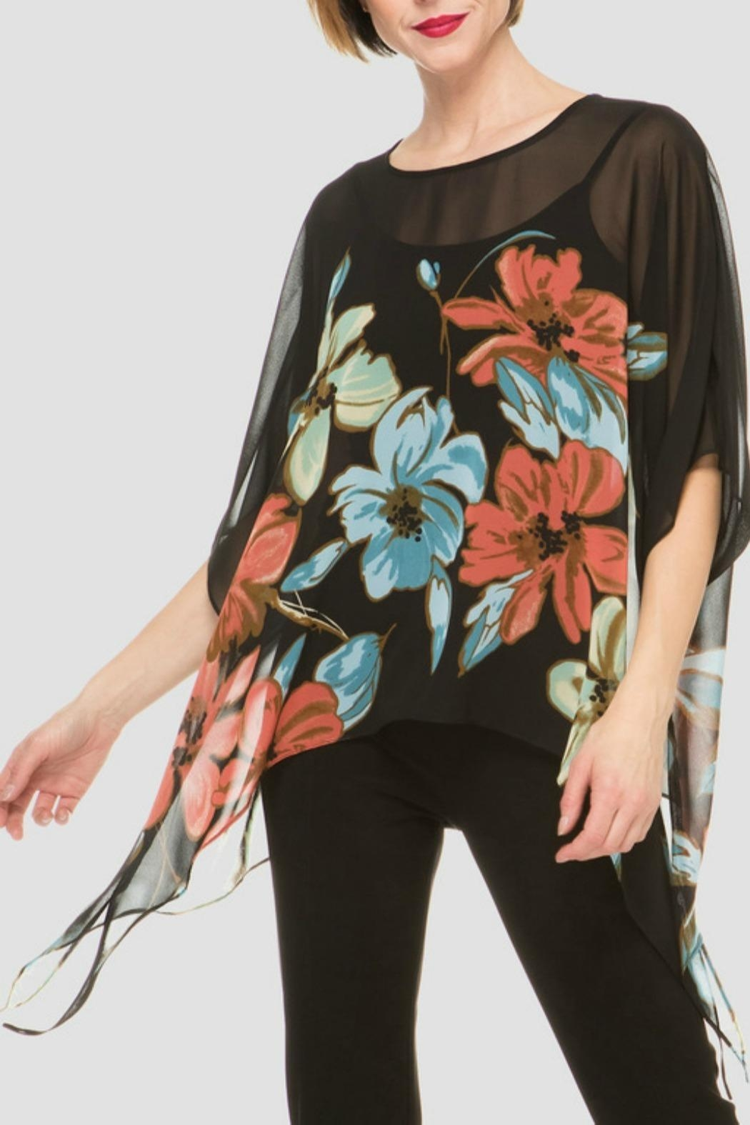Joseph Ribkoff Flower Printed Top - Front Cropped Image