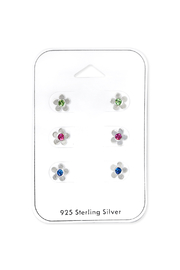 Silver Jewels Flower Silver Stud Earrings Set - Product Mini Image