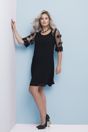 Frank Lyman Flower Sleeve Dress, Black - Product Mini Image