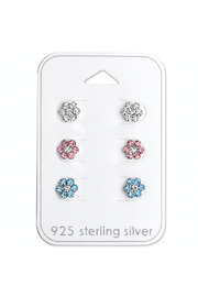 Silver Jewels Flower Sterling Silver Stud Earring Set - Product Mini Image