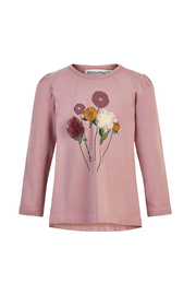 Minymo Flower T-Shirt Woodrose - Front cropped