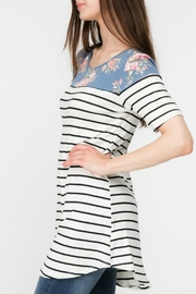 Adora Flowers-And-Stripes Long Tee - Other