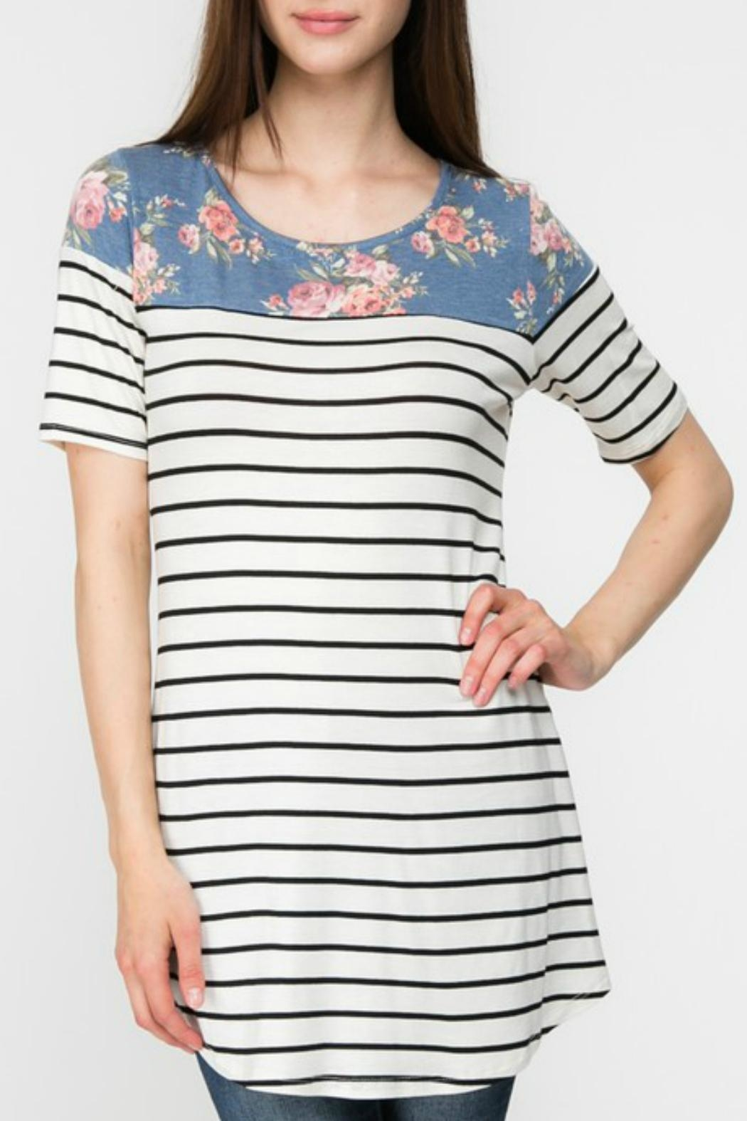 Adora Flowers-And-Stripes Long Tee - Main Image