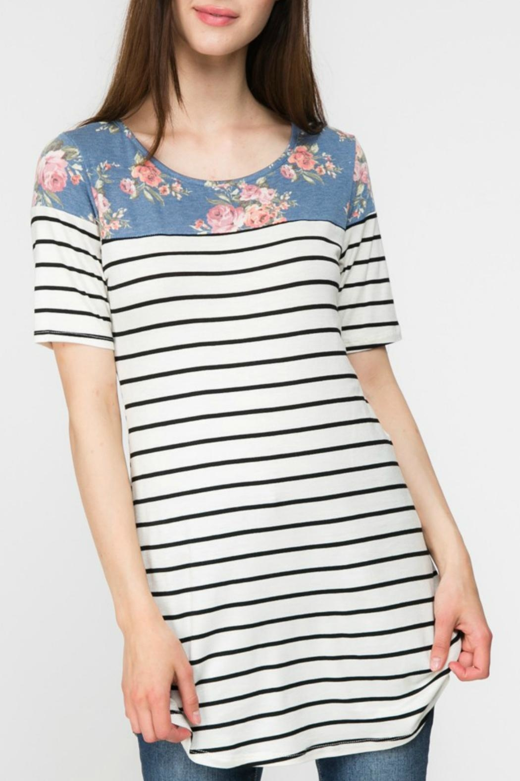 Adora Flowers-And-Stripes Long Tee - Back Cropped Image