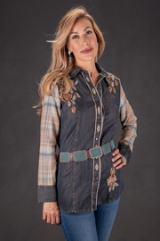 Vintage Collection Flowers, Denim & Plaid Shirt - Product Mini Image